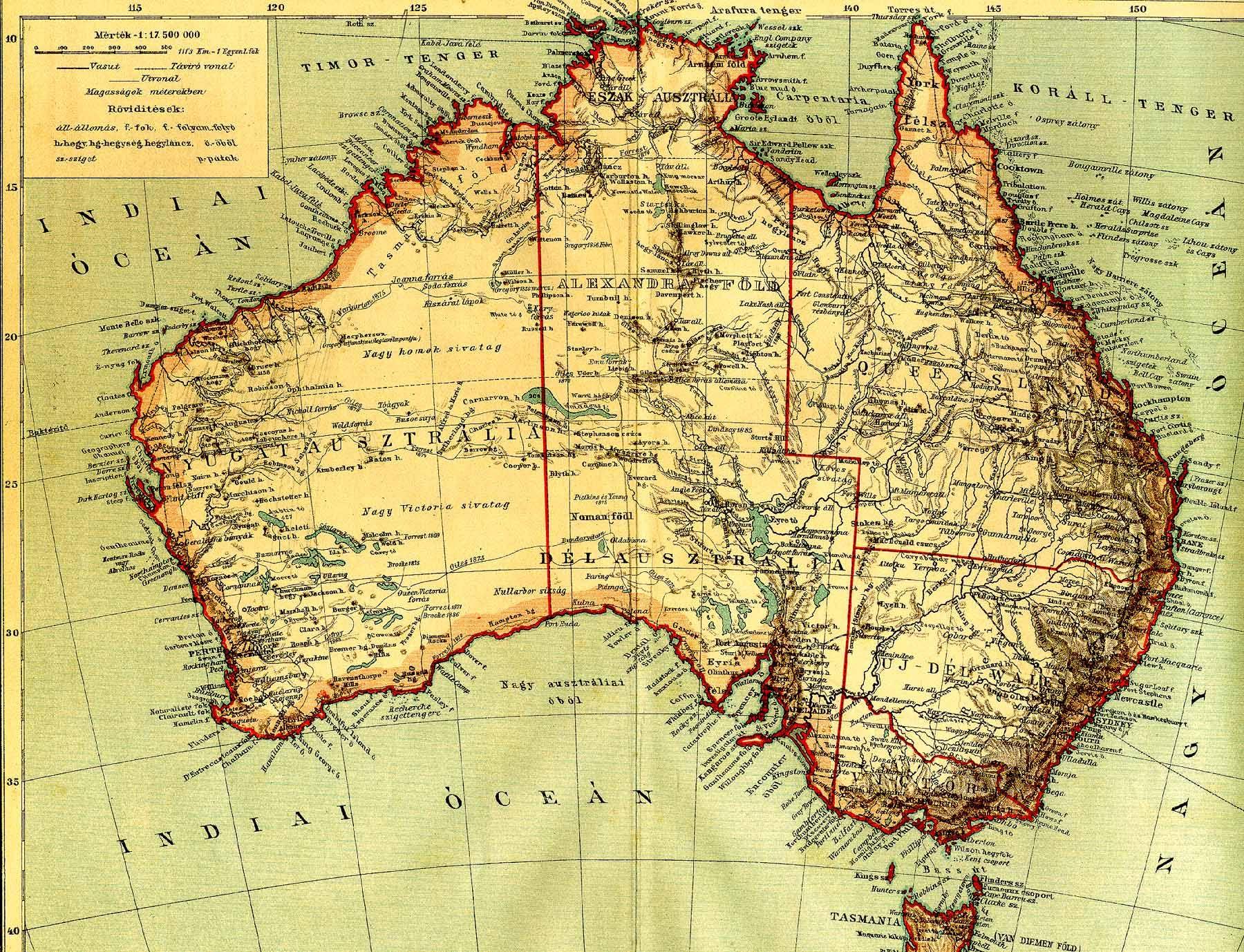 ausztrália domborzati térkép Ausztrália [Digitális Képarchívum   DKA 000427] ausztrália domborzati térkép