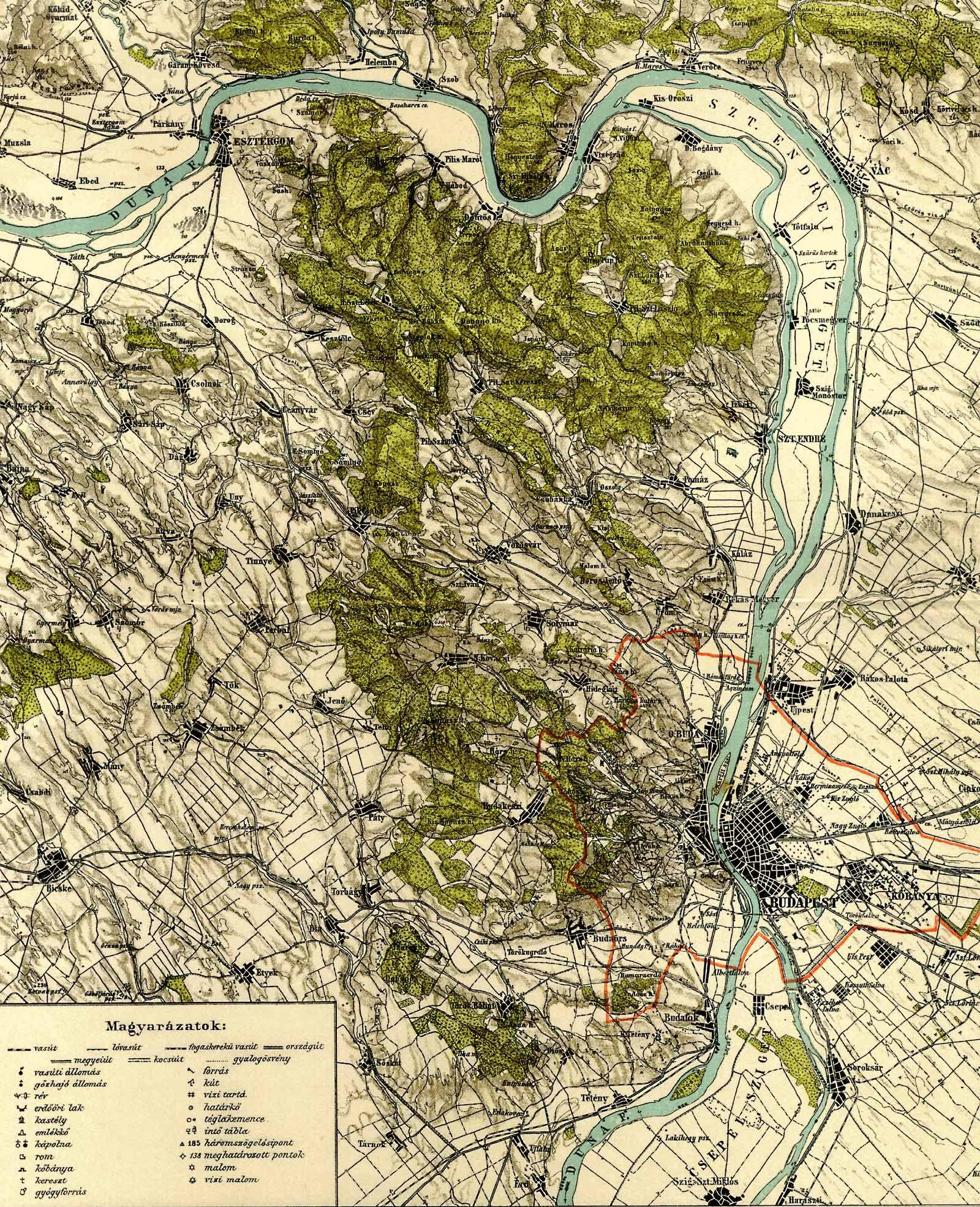 budapest szintvonalas térkép Budapest környéke [Digitális Képarchívum   DKA 000468] budapest szintvonalas térkép