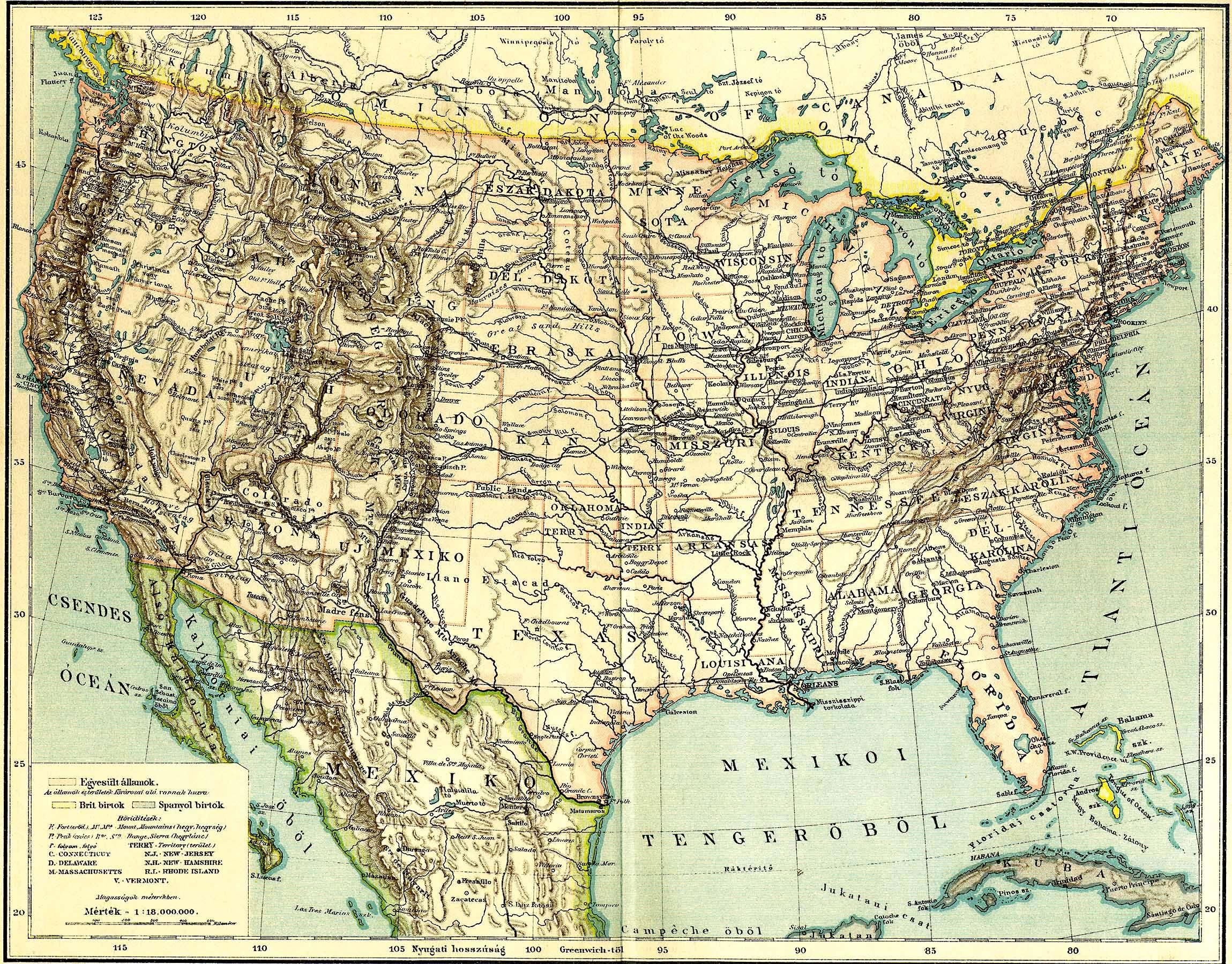 észak amerika térkép városokkal Észak Amerika hegy  és vízrendszere [Digitális Képarchívum   DKA  észak amerika térkép városokkal