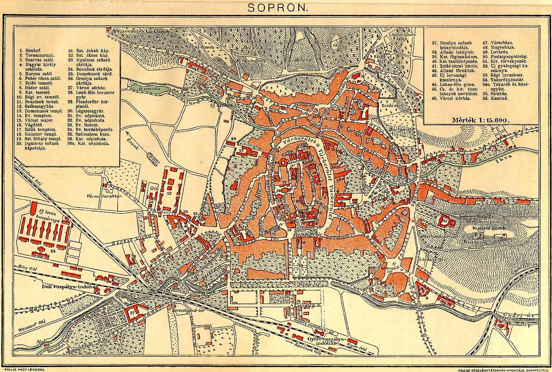térkép sopron Sopron [Digitális Képarchívum   DKA 000637] térkép sopron